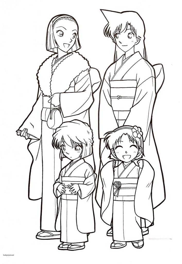 Haibara ayumi sonoko et ran en kimono for Detective conan coloring pages